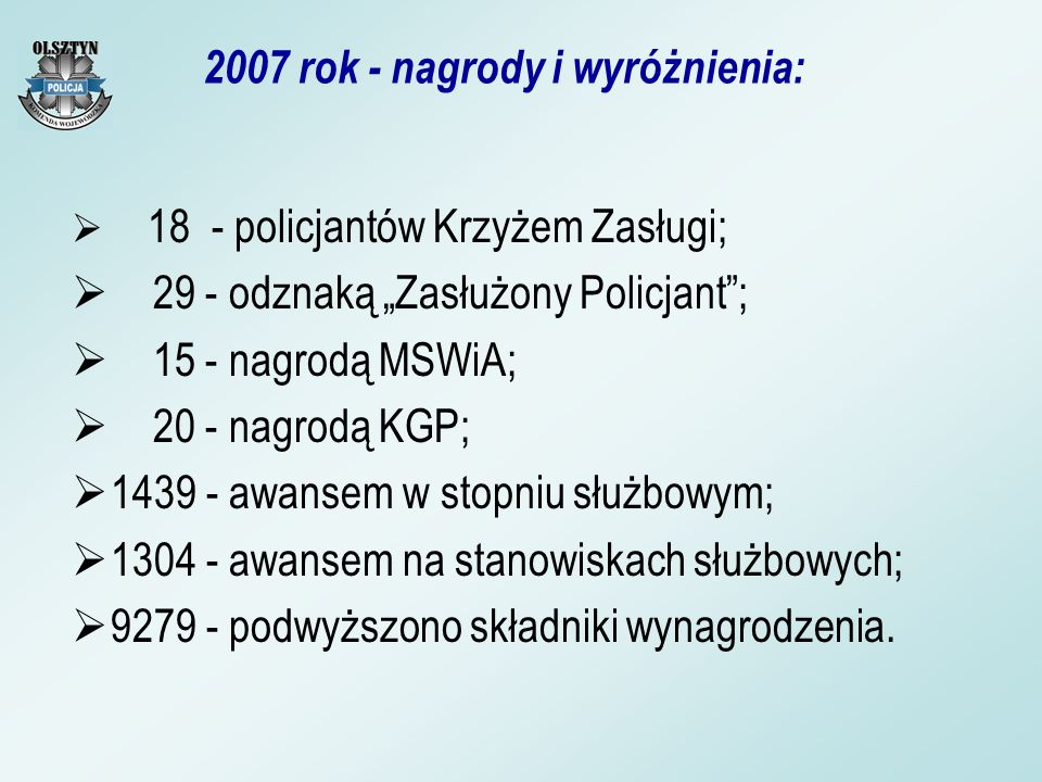 2007 rok - nagrody i wyróżnienia: