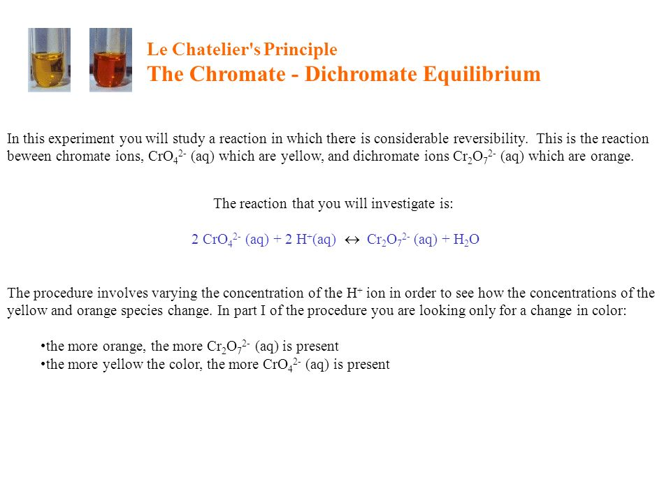 Le Chatelier s Principle The Chromate - Dichromate Equilibrium