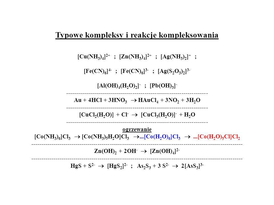 Typowe kompleksy i reakcje kompleksowania