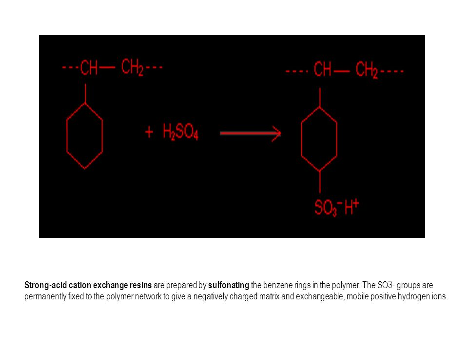 Strong-acid cation exchange resins are prepared by sulfonating the benzene rings in the polymer.