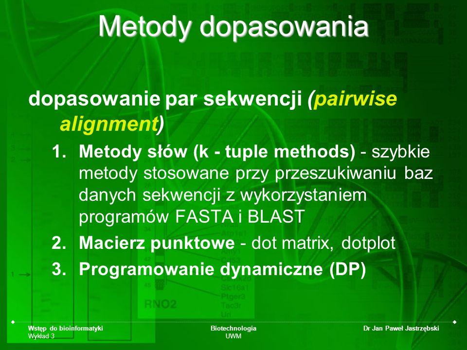 Metody dopasowania dopasowanie par sekwencji (pairwise alignment)