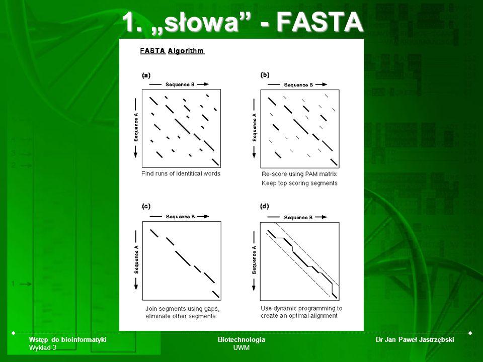 """1. """"słowa - FASTA Wstęp do bioinformatyki Wykład 3 Biotechnologia UWM"""