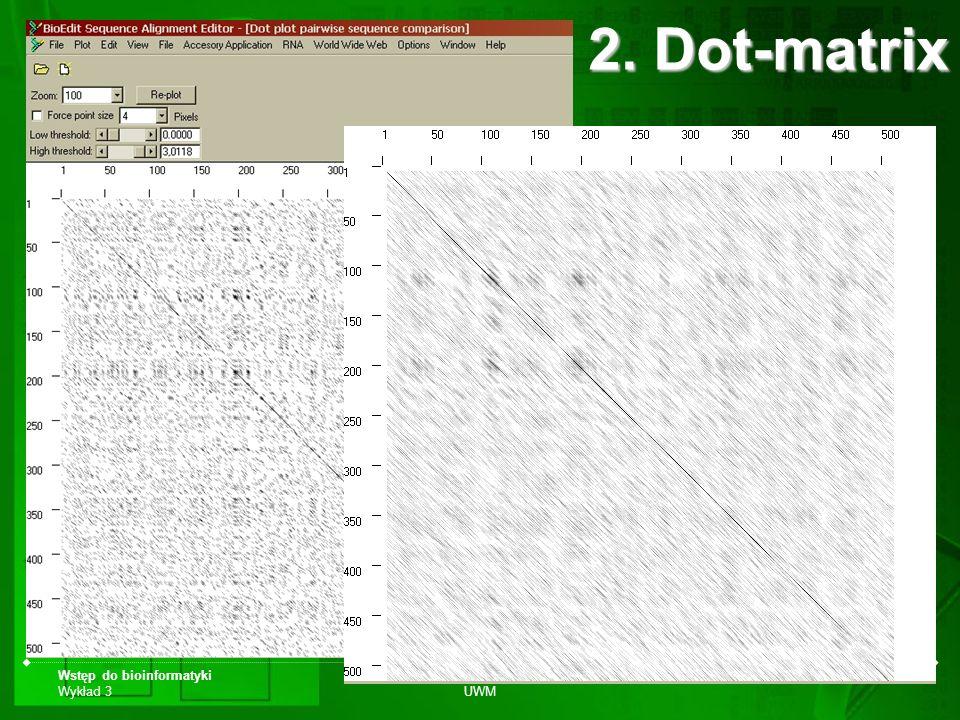 2. Dot-matrix Wstęp do bioinformatyki Wykład 3 Biotechnologia UWM