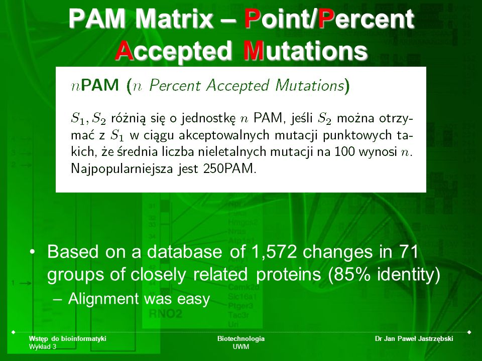 PAM Matrix – Point/Percent Accepted Mutations