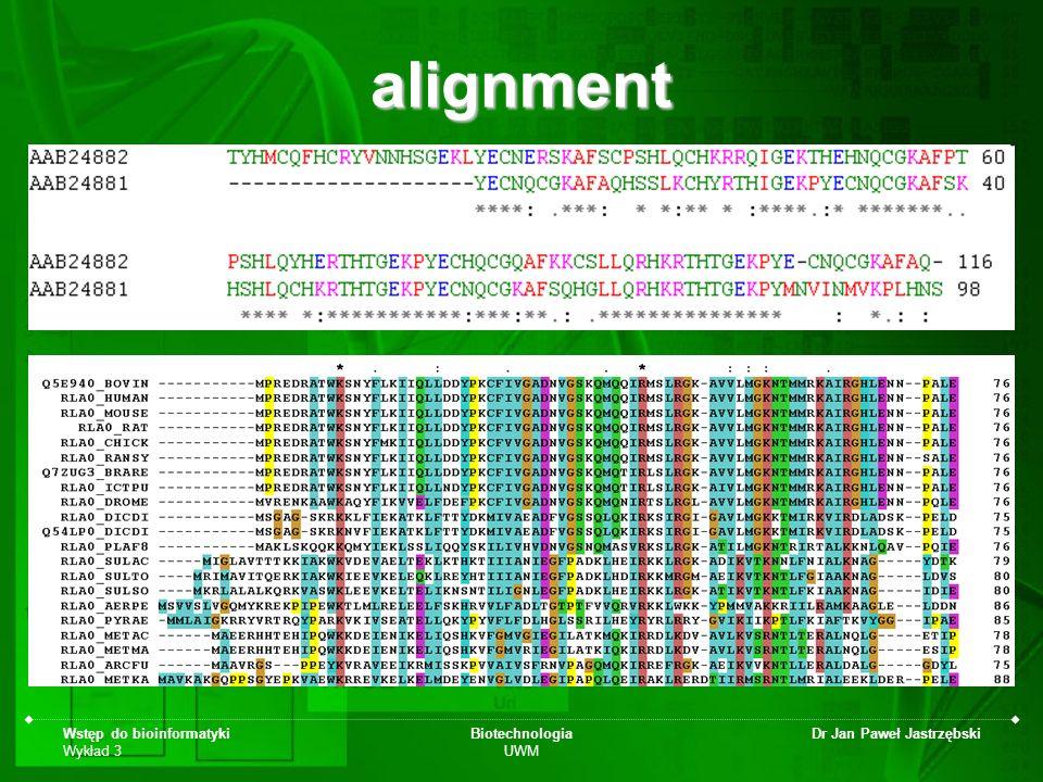 alignment Wstęp do bioinformatyki Wykład 3 Biotechnologia UWM