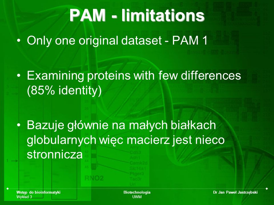PAM - limitations Only one original dataset - PAM 1