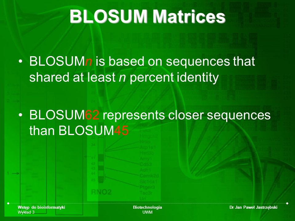 BLOSUM Matrices BLOSUMn is based on sequences that shared at least n percent identity. BLOSUM62 represents closer sequences than BLOSUM45.