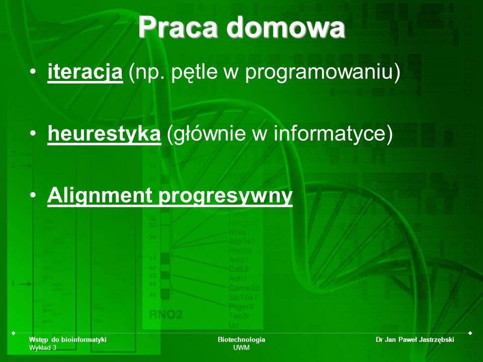 Praca domowa iteracja (np. pętle w programowaniu)
