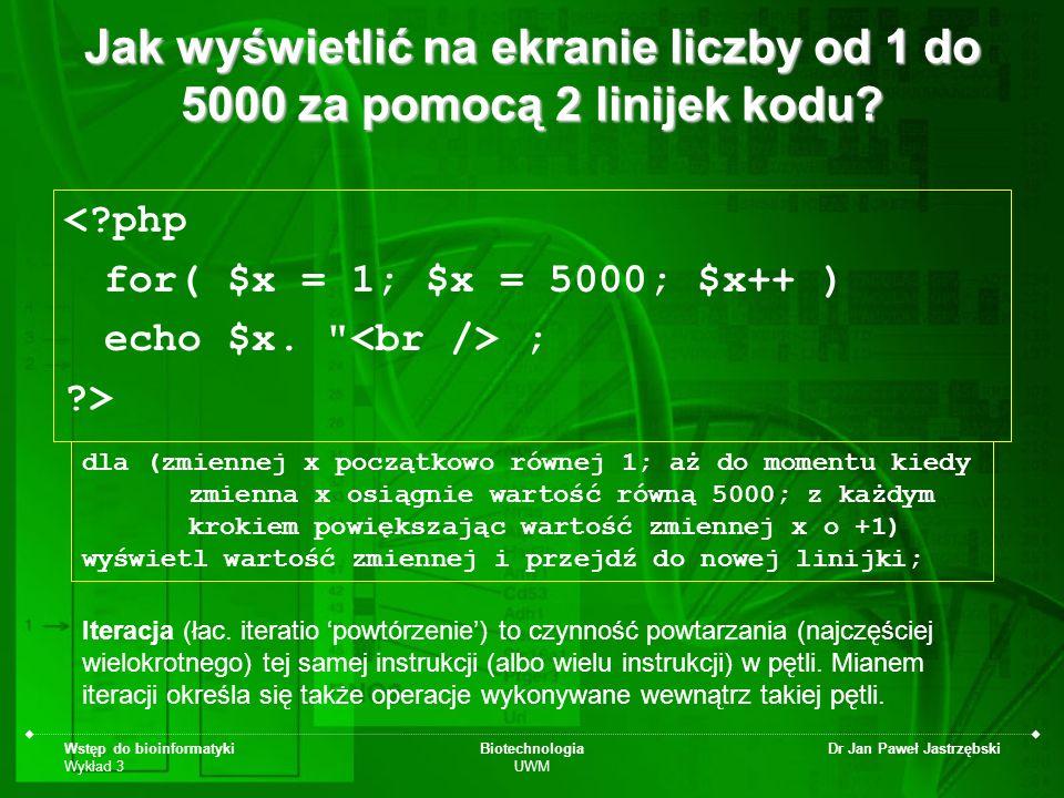Jak wyświetlić na ekranie liczby od 1 do 5000 za pomocą 2 linijek kodu