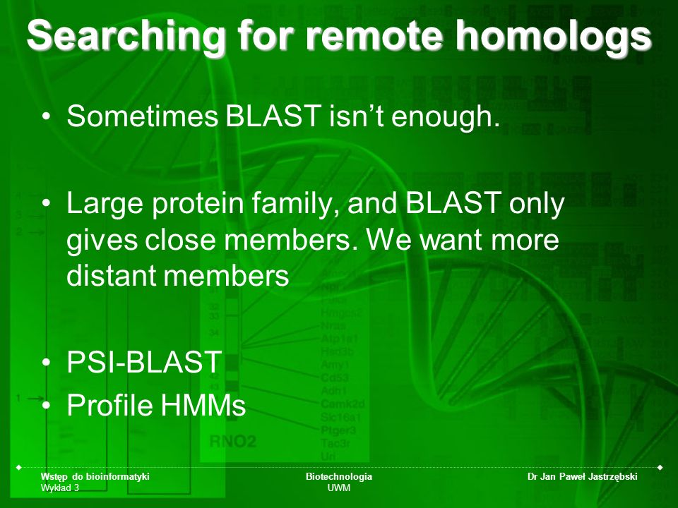 Searching for remote homologs