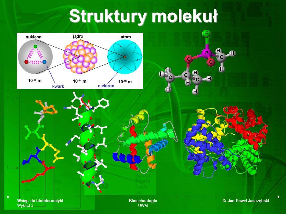 Struktury molekuł Wstęp do bioinformatyki Wykład 3 Biotechnologia UWM