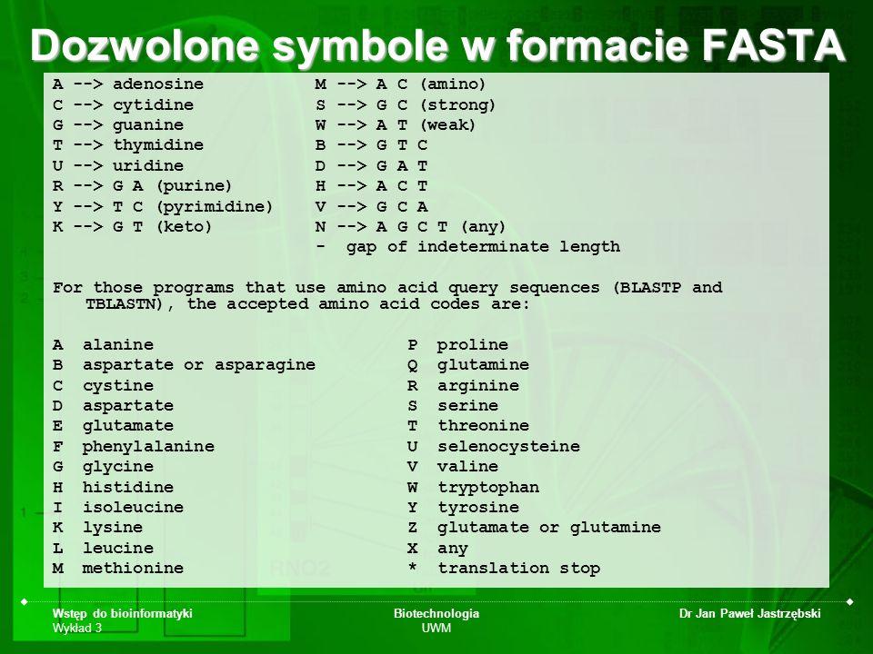 Dozwolone symbole w formacie FASTA