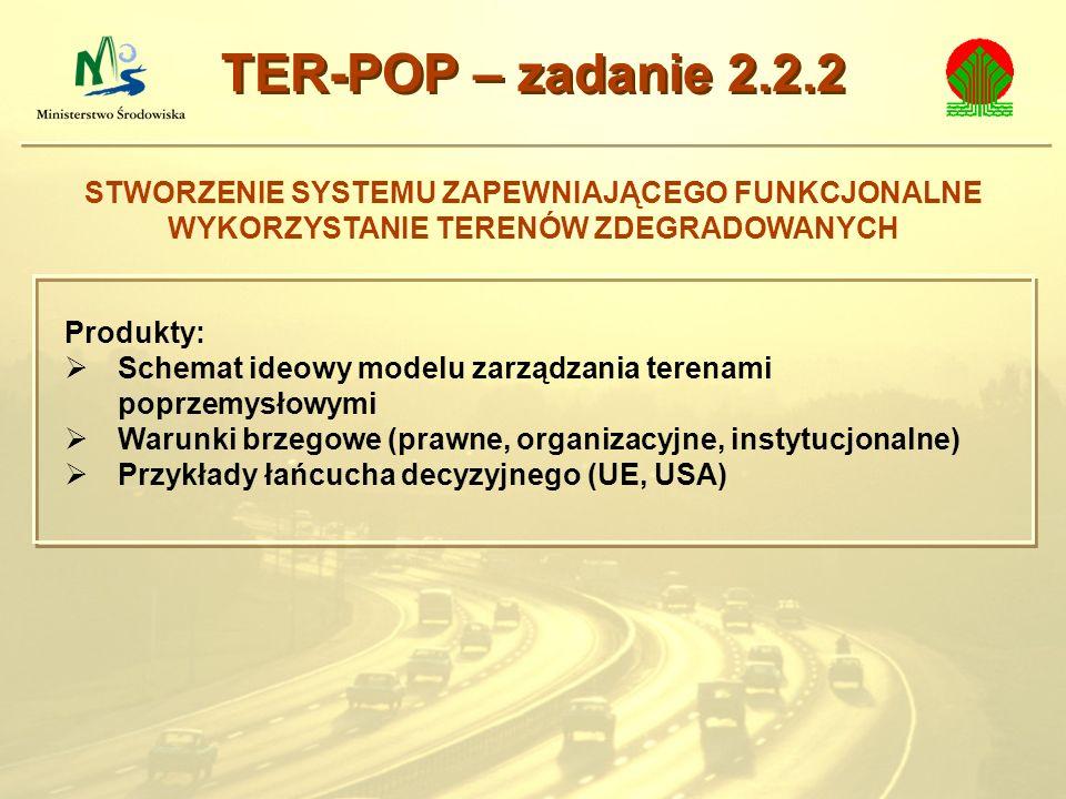 TER-POP – zadanie 2.2.2 STWORZENIE SYSTEMU ZAPEWNIAJĄCEGO FUNKCJONALNE WYKORZYSTANIE TERENÓW ZDEGRADOWANYCH.