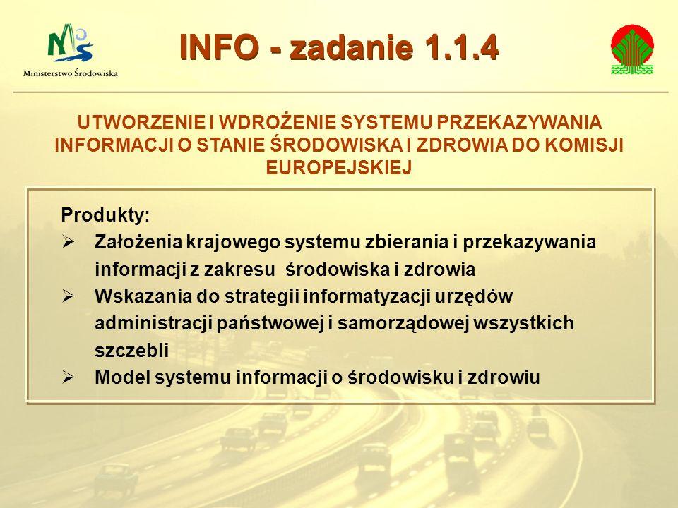 INFO - zadanie 1.1.4 UTWORZENIE I WDROŻENIE SYSTEMU PRZEKAZYWANIA INFORMACJI O STANIE ŚRODOWISKA I ZDROWIA DO KOMISJI EUROPEJSKIEJ.