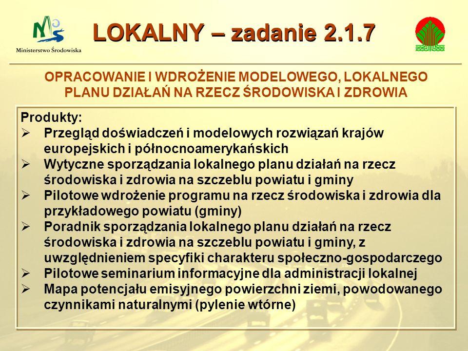LOKALNY – zadanie 2.1.7OPRACOWANIE I WDROŻENIE MODELOWEGO, LOKALNEGO PLANU DZIAŁAŃ NA RZECZ ŚRODOWISKA I ZDROWIA.