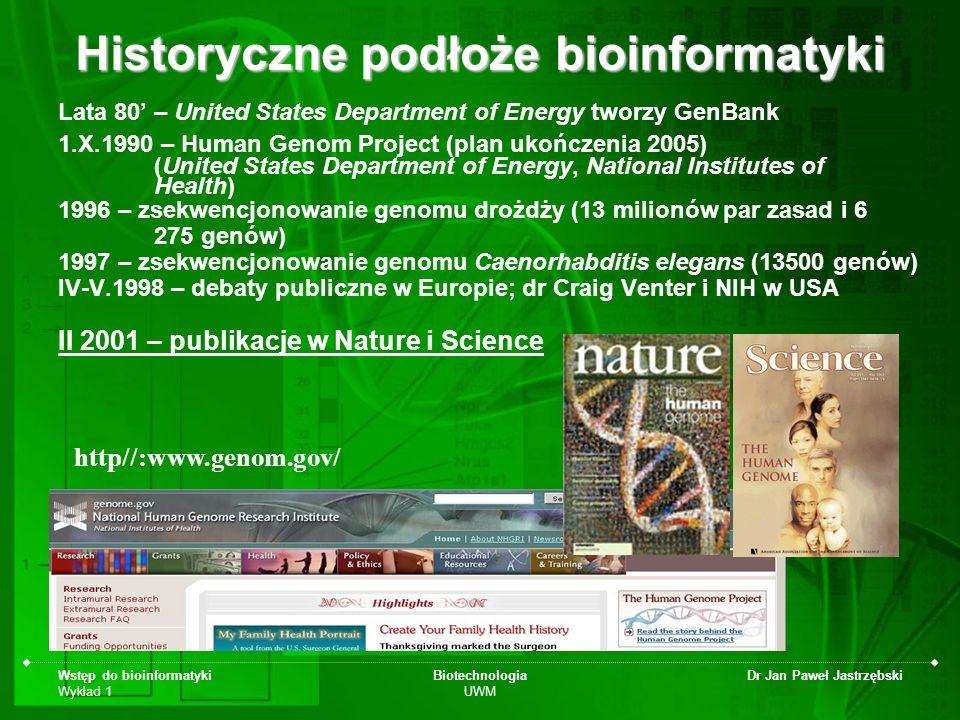 Historyczne podłoże bioinformatyki
