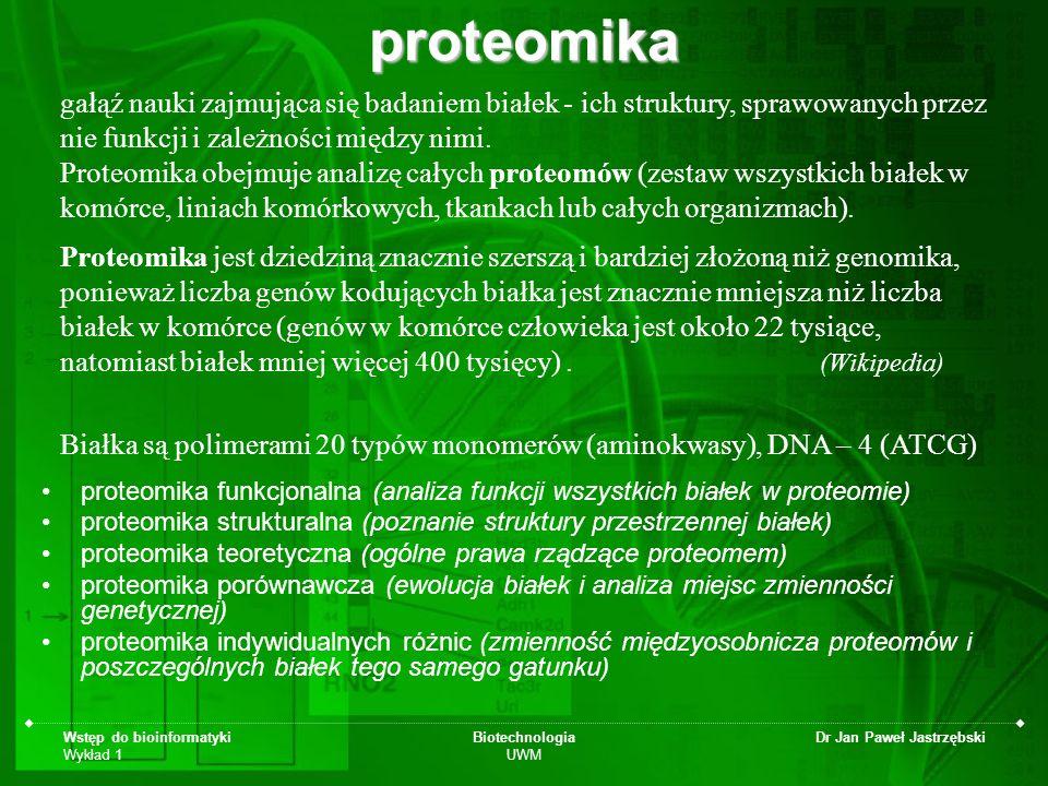 proteomika gałąź nauki zajmująca się badaniem białek - ich struktury, sprawowanych przez nie funkcji i zależności między nimi.