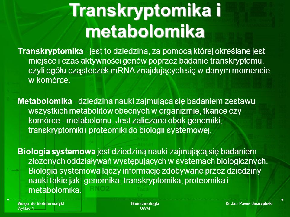 Transkryptomika i metabolomika