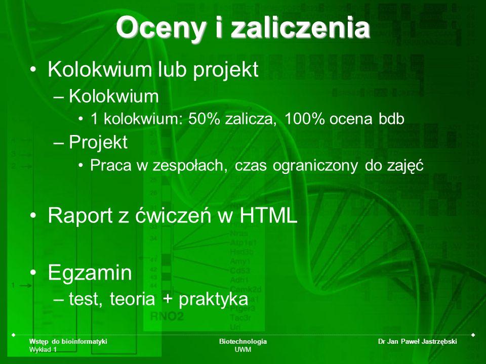 Oceny i zaliczenia Kolokwium lub projekt Raport z ćwiczeń w HTML