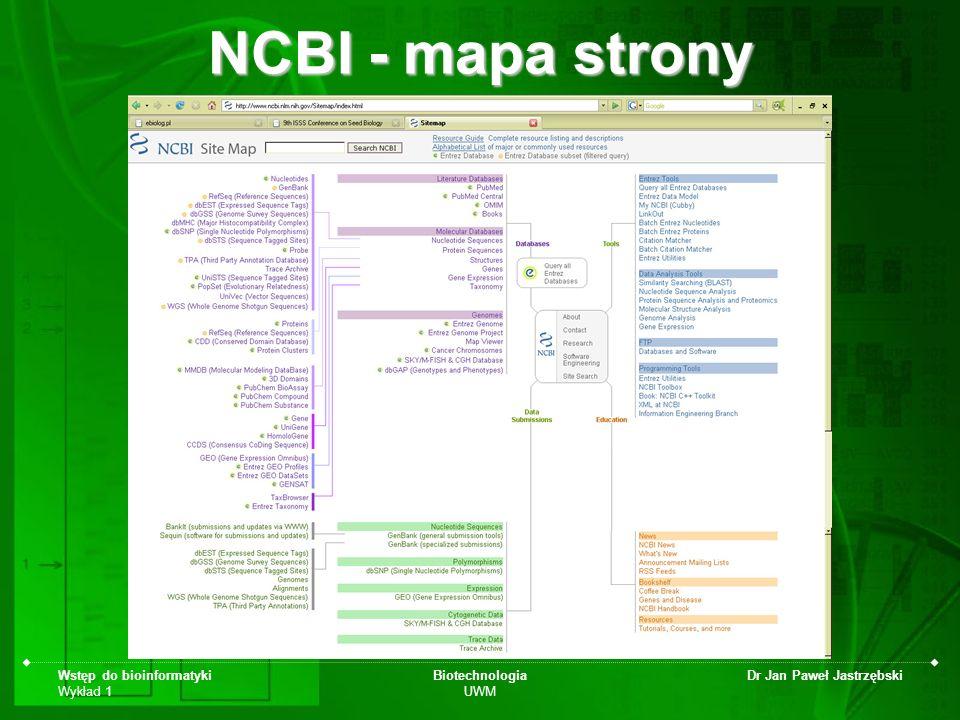 NCBI - mapa strony Wstęp do bioinformatyki Wykład 1 Biotechnologia UWM