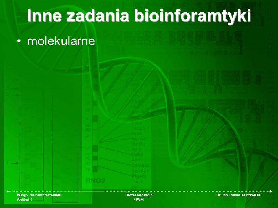 Inne zadania bioinforamtyki