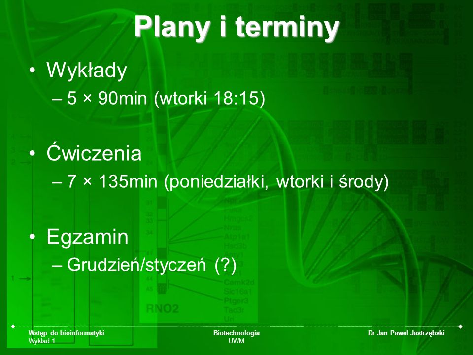 Plany i terminy Wykłady Ćwiczenia Egzamin 5 × 90min (wtorki 18:15)