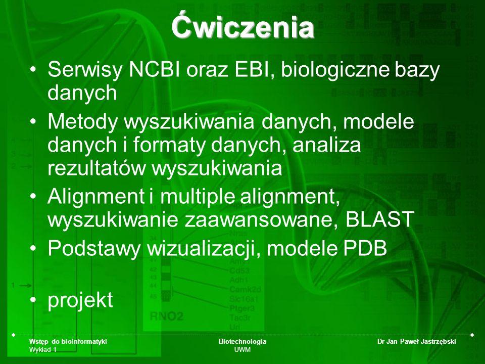 Ćwiczenia Serwisy NCBI oraz EBI, biologiczne bazy danych