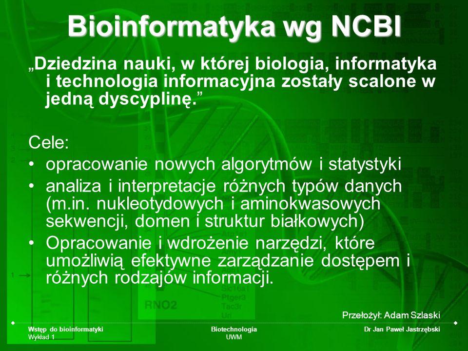 Bioinformatyka wg NCBI