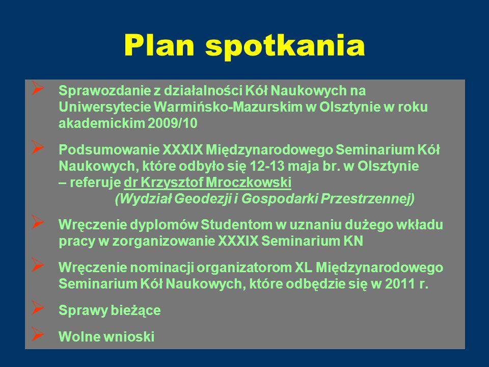 Plan spotkaniaSprawozdanie z działalności Kół Naukowych na Uniwersytecie Warmińsko-Mazurskim w Olsztynie w roku akademickim 2009/10.