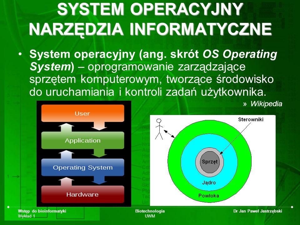SYSTEM OPERACYJNY NARZĘDZIA INFORMATYCZNE