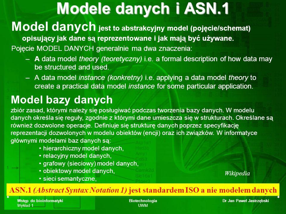 Modele danych i ASN.1 Model danych jest to abstrakcyjny model (pojęcie/schemat) opisujący jak dane są reprezentowane i jak mają być używane.