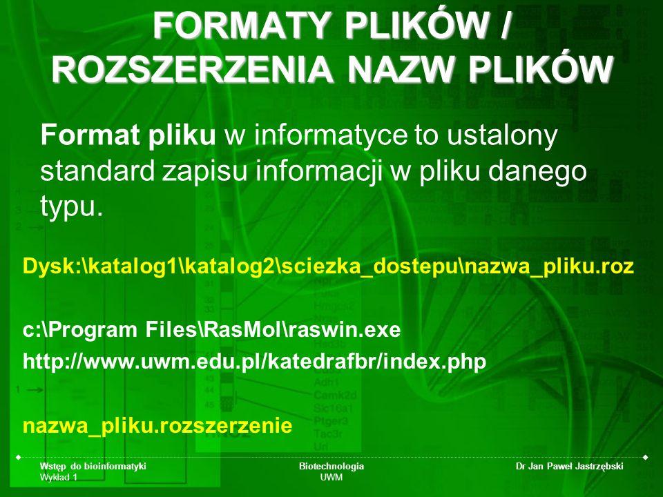 FORMATY PLIKÓW / ROZSZERZENIA NAZW PLIKÓW