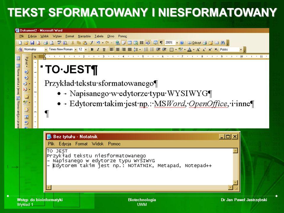TEKST SFORMATOWANY I NIESFORMATOWANY