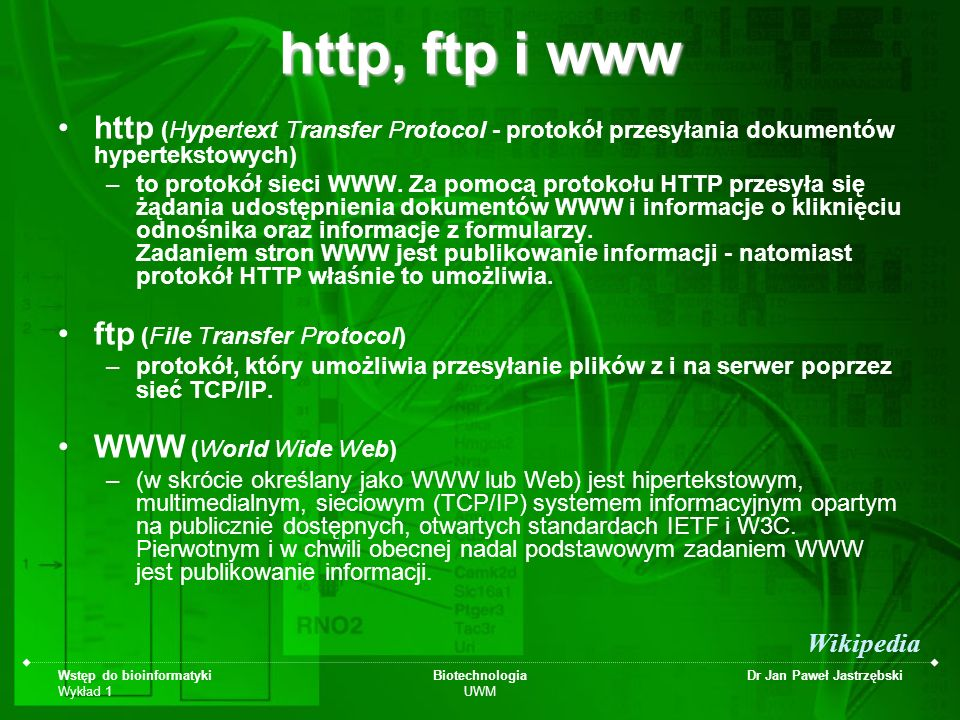 http, ftp i www http (Hypertext Transfer Protocol - protokół przesyłania dokumentów hypertekstowych)