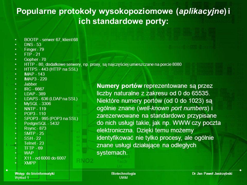 Popularne protokoły wysokopoziomowe (aplikacyjne) i ich standardowe porty: