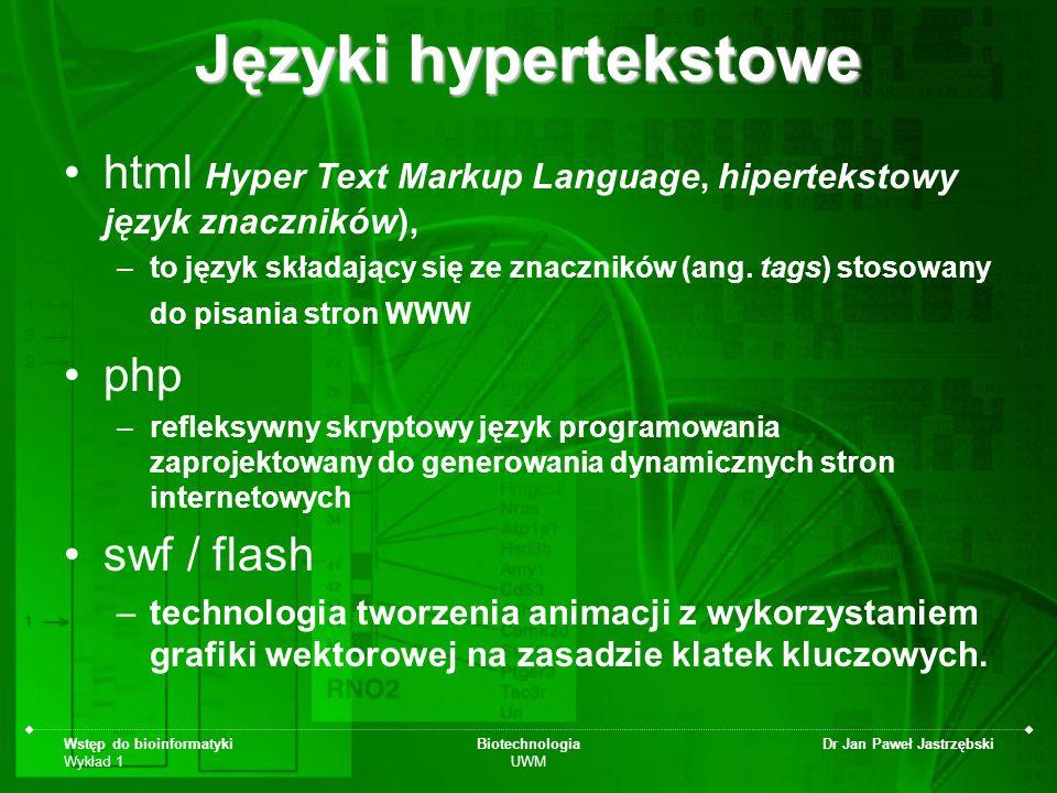Języki hypertekstowe html Hyper Text Markup Language, hipertekstowy język znaczników),