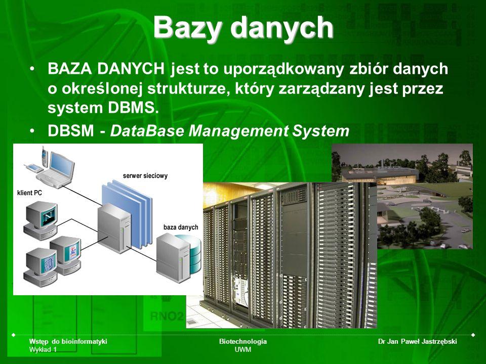 Bazy danych BAZA DANYCH jest to uporządkowany zbiór danych o określonej strukturze, który zarządzany jest przez system DBMS.