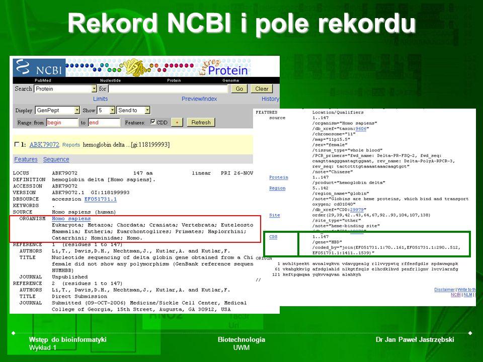 Rekord NCBI i pole rekordu