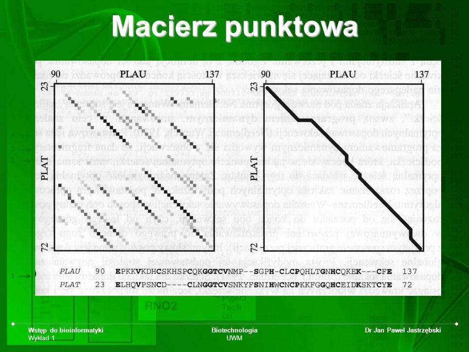 Macierz punktowa Wstęp do bioinformatyki Wykład 1 Biotechnologia UWM