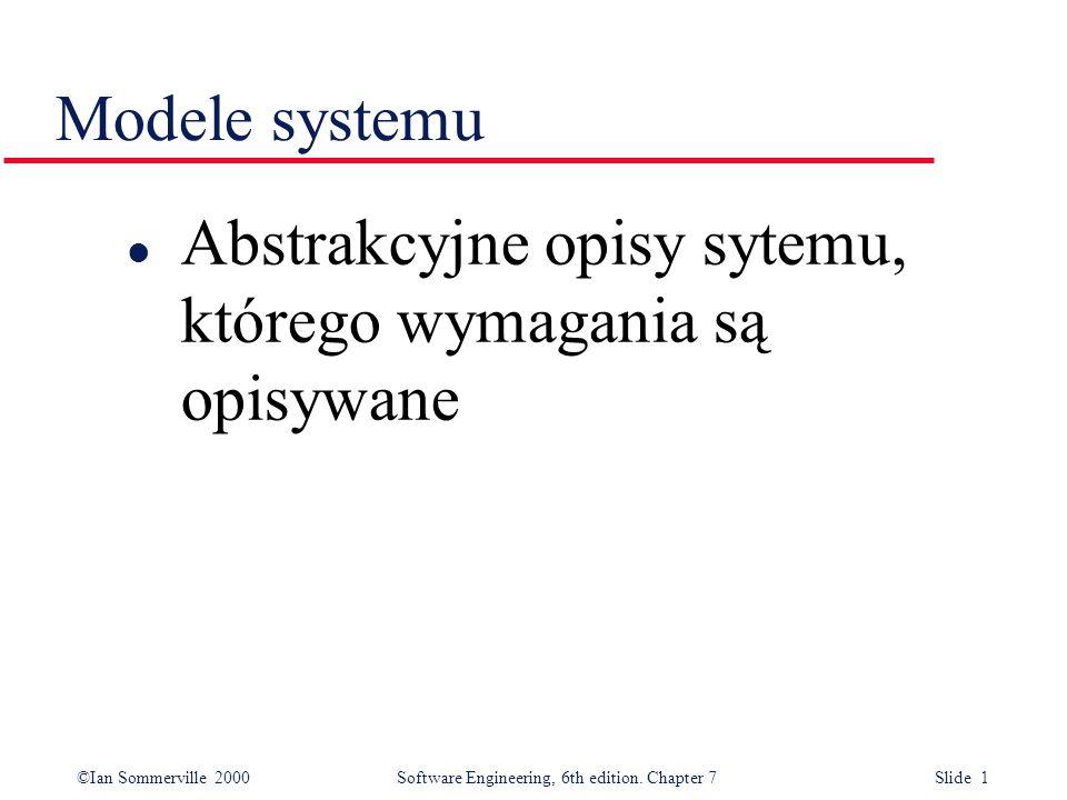 Modele systemu Abstrakcyjne opisy sytemu, którego wymagania są opisywane