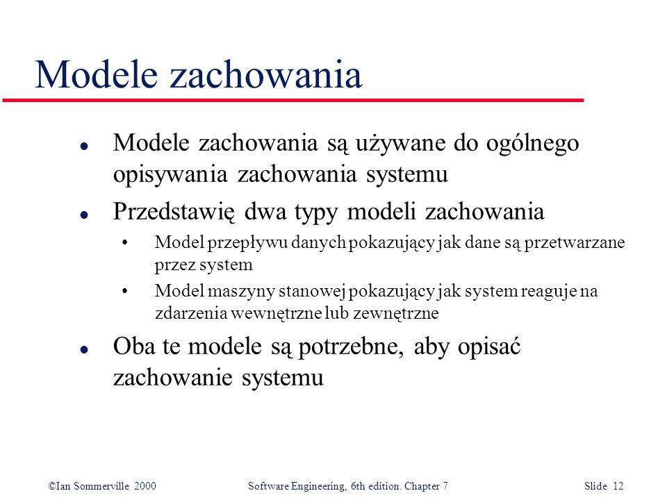 Modele zachowania Modele zachowania są używane do ogólnego opisywania zachowania systemu. Przedstawię dwa typy modeli zachowania.