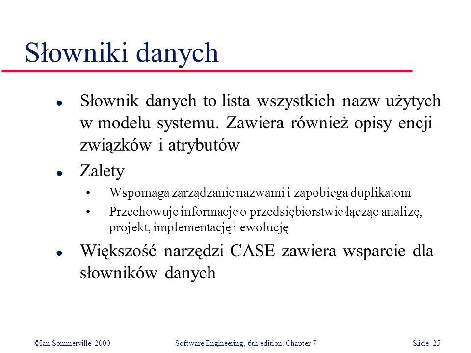 Słowniki danych Słownik danych to lista wszystkich nazw użytych w modelu systemu. Zawiera również opisy encji związków i atrybutów.