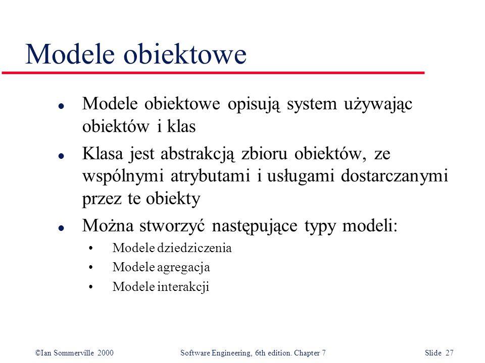 Modele obiektowe Modele obiektowe opisują system używając obiektów i klas.