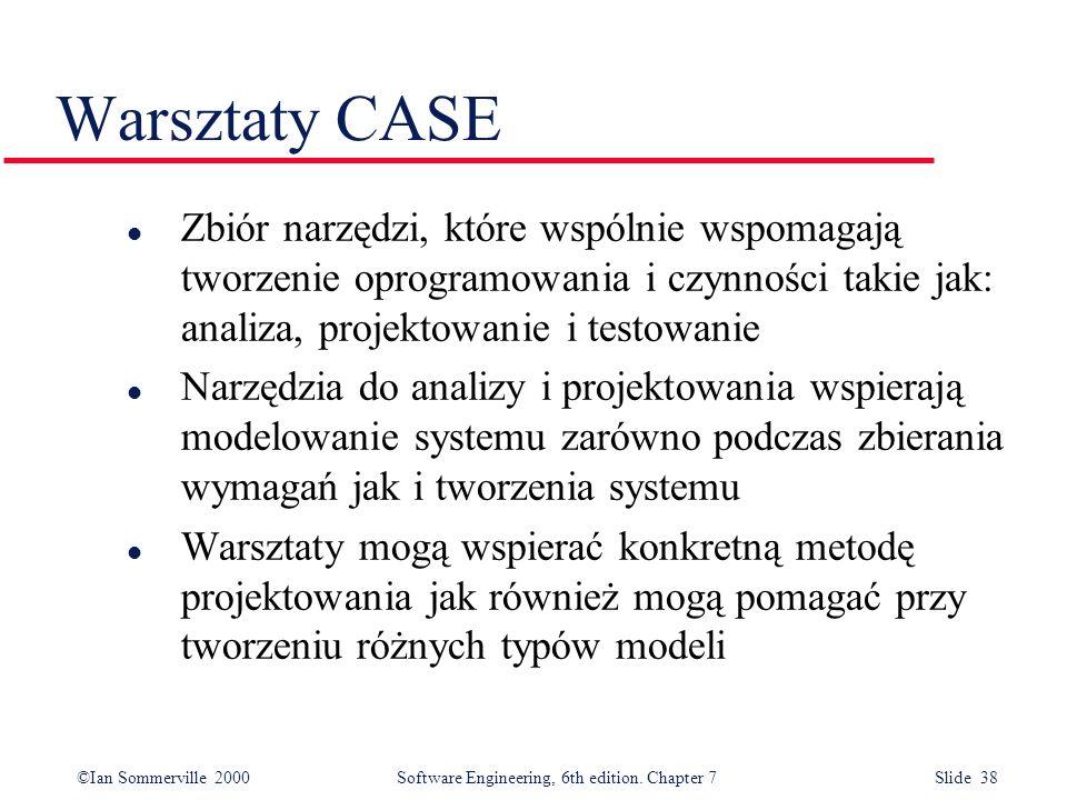 Warsztaty CASE Zbiór narzędzi, które wspólnie wspomagają tworzenie oprogramowania i czynności takie jak: analiza, projektowanie i testowanie.