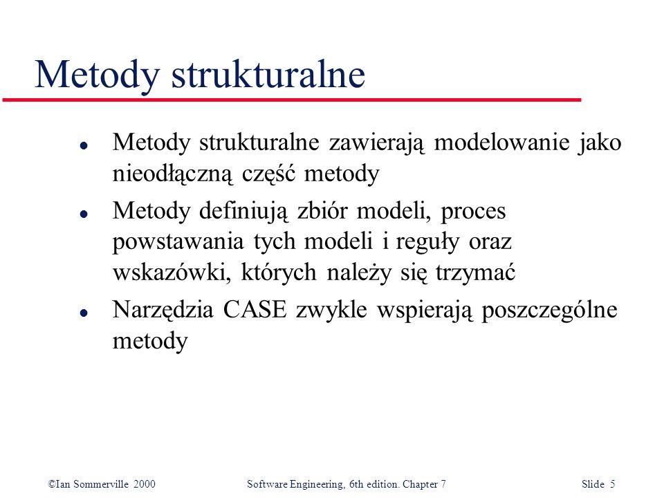 Metody strukturalne Metody strukturalne zawierają modelowanie jako nieodłączną część metody.