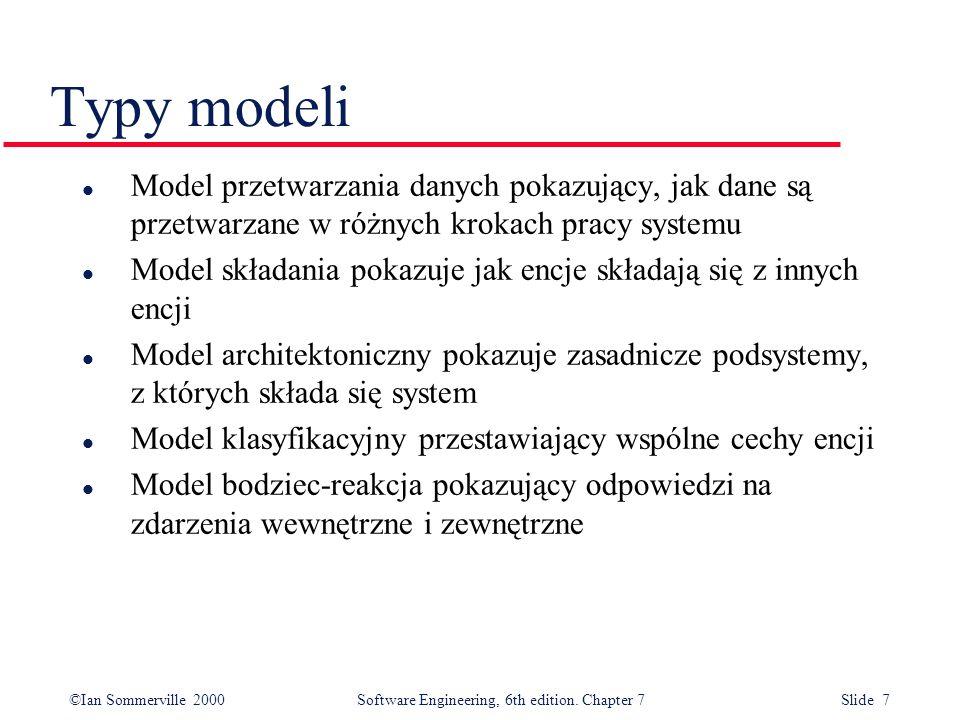 Typy modeli Model przetwarzania danych pokazujący, jak dane są przetwarzane w różnych krokach pracy systemu.