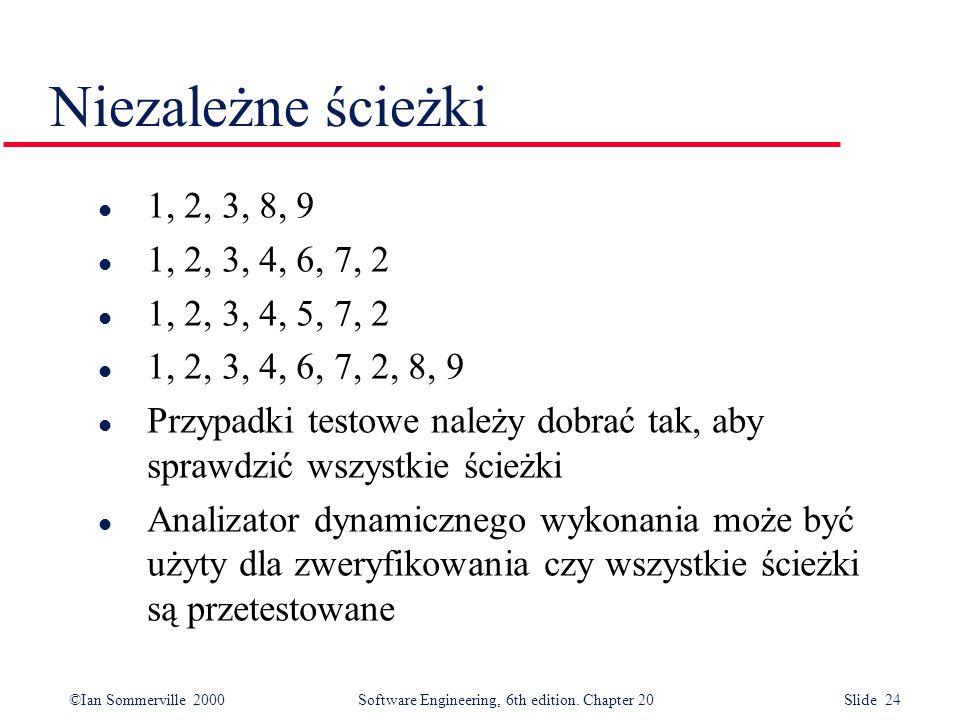 Niezależne ścieżki 1, 2, 3, 8, 9. 1, 2, 3, 4, 6, 7, 2. 1, 2, 3, 4, 5, 7, 2. 1, 2, 3, 4, 6, 7, 2, 8, 9.