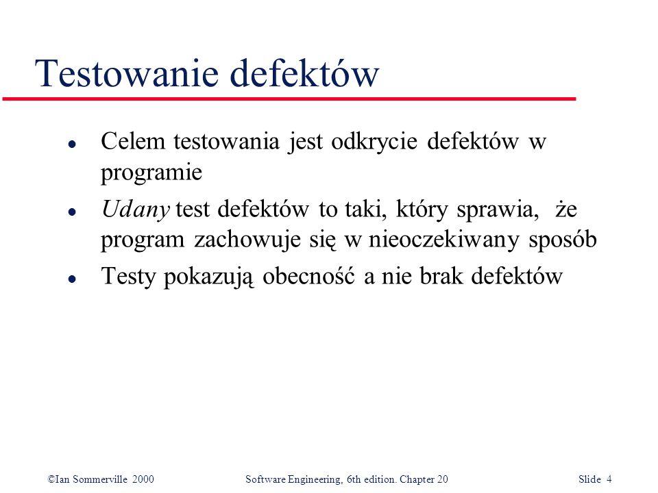 Testowanie defektów Celem testowania jest odkrycie defektów w programie.
