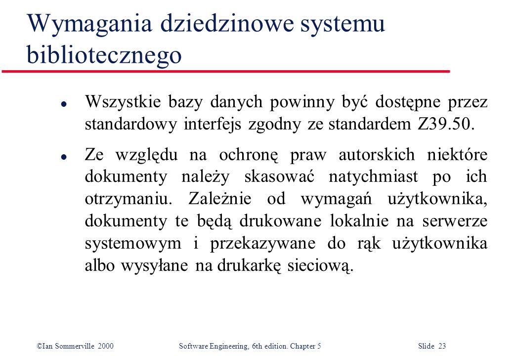 Wymagania dziedzinowe systemu bibliotecznego