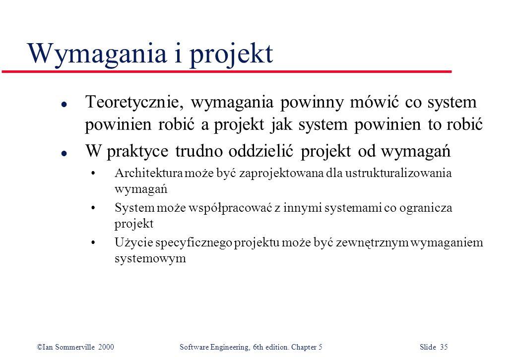 Wymagania i projekt Teoretycznie, wymagania powinny mówić co system powinien robić a projekt jak system powinien to robić.
